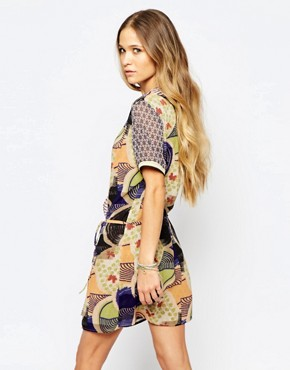 photo Wrap Dress in Mixed Print by Maison Scotch, color Multi - Image 2