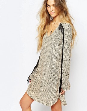 photo Printed Shift Dress with Fringing by Maison Scotch, color Cream - Image 1