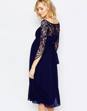 photo Midi Skater Dress with Lace Overlay by Little Mistress Maternity, color Navy - Image 2