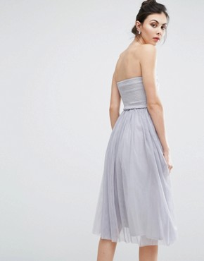 photo Crochet Overlay Bandeau Midi Prom Dress by Little Mistress Tall, color Grey - Image 2