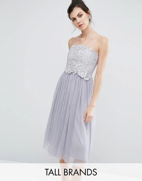 photo Crochet Overlay Bandeau Midi Prom Dress by Little Mistress Tall, color Grey - Image 1