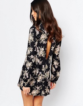 photo Leah Mini Dress with Open Back on Black Magic by Flynn Skye, color Black Magic - Image 2