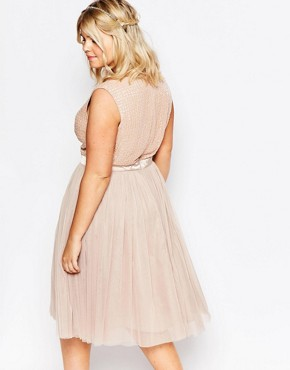 photo Embellished Tulle Skirt Midi Dress by Lovedrobe Luxe, color Mink - Image 2