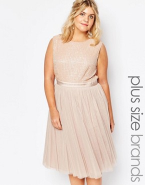 photo Embellished Tulle Skirt Midi Dress by Lovedrobe Luxe, color Mink - Image 1