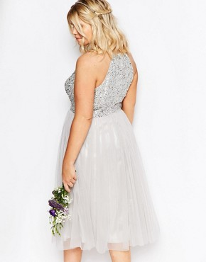 photo High Neck Sequin Tulle Midi Dress by Lovedrobe Luxe, color Grey - Image 2