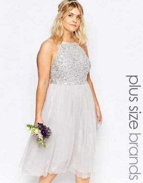 photo High Neck Sequin Tulle Midi Dress by Lovedrobe Luxe, color Grey - Image 1
