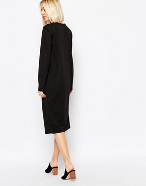 photo Dress with Front Slit Detail by Weekday, color Black - Image 2