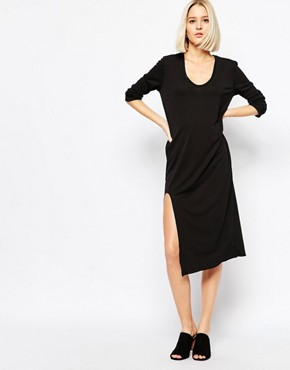 photo Dress with Front Slit Detail by Weekday, color Black - Image 1