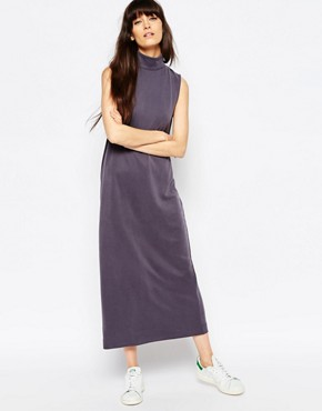 photo Value High Neck Midi Dress with Deep V Back by Weekday, color Grey - Image 2