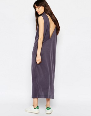 photo Value High Neck Midi Dress with Deep V Back by Weekday, color Grey - Image 1