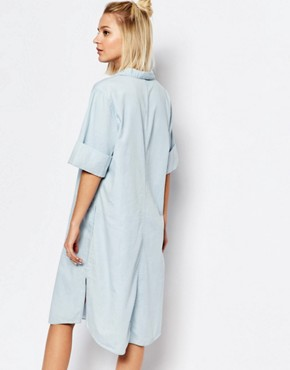 photo Medina Denim Dress with Collar by Weekday, color Blue - Image 2