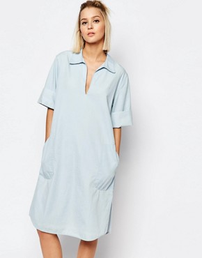 photo Medina Denim Dress with Collar by Weekday, color Blue - Image 1