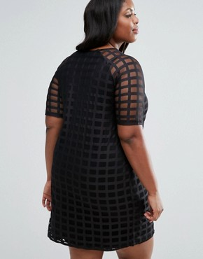 photo Exclusive Shift Dress in Cage Mesh by ASOS CURVE, color Black - Image 2