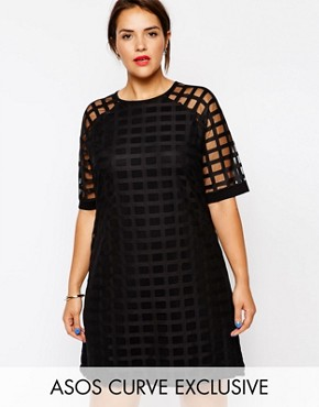 photo Exclusive Shift Dress in Cage Mesh by ASOS CURVE, color Black - Image 1