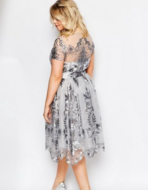 photo Midi Prom Dress with Delicate Sequin by Chi Chi London Plus, color Grey - Image 2