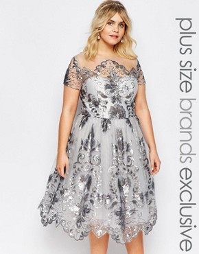 photo Midi Prom Dress with Delicate Sequin by Chi Chi London Plus, color Grey - Image 1