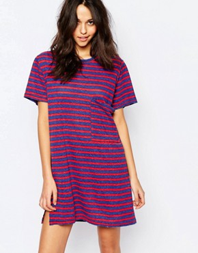 photo Striped Jersey T-Shirt Dress by Current/Elliott, color Multi - Image 1