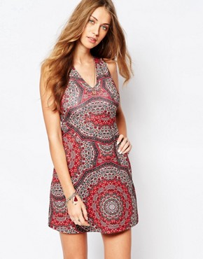 photo Printed A-Line Dress by Abercrombie & Fitch, color Red - Image 1