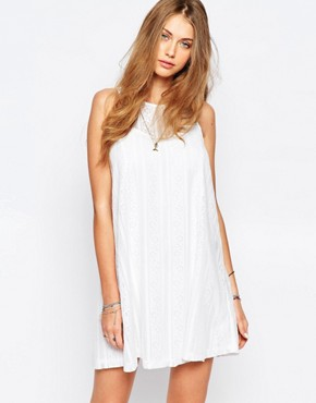 photo Lace A-Line Dress by Abercrombie & Fitch, color White - Image 1