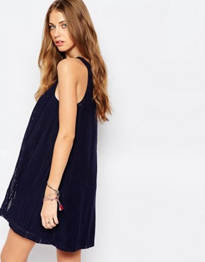 photo Lace A-Line Dress by Abercrombie & Fitch, color Navy - Image 2