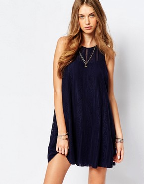 photo Lace A-Line Dress by Abercrombie & Fitch, color Navy - Image 1