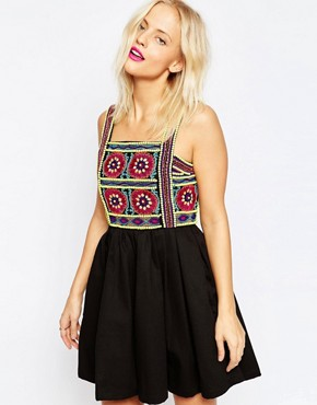 photo Embroidered Strap Dress by House of Holland, color Black - Image 1