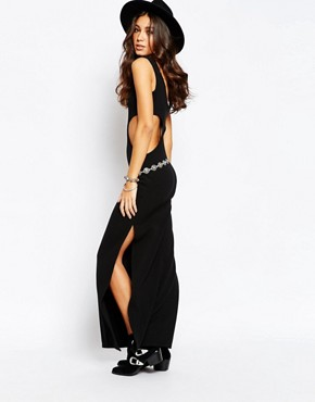 photo Cut Out Maxi Dress by Rokoko, color Black - Image 2