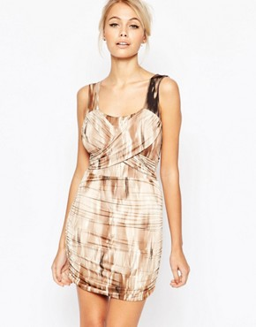 photo Abi Wrap Front Dress in Tie Dye by Hedonia, color Brown - Image 1