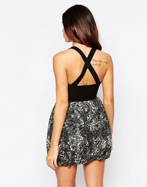 photo Flora Dress with Leather Look Bust and Puff Skirt by Hedonia, color Black - Image 2