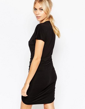 photo Heidi Plunge Neck Dress with Ruched Front by Hedonia, color Black - Image 2