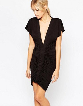 photo Heidi Plunge Neck Dress with Ruched Front by Hedonia, color Black - Image 1