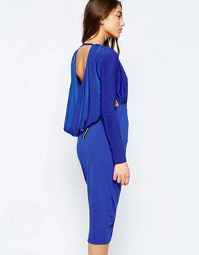 photo Gabby Midi Pencil Dress with Plunge Front by Hedonia, color Cobalt - Image 2