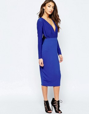 photo Gabby Midi Pencil Dress with Plunge Front by Hedonia, color Cobalt - Image 1