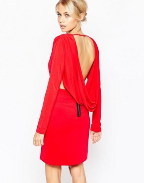 photo Gabby Long Sleeve Plunge Dress by Hedonia, color Red - Image 2