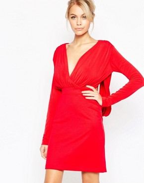 photo Gabby Long Sleeve Plunge Dress by Hedonia, color Red - Image 1