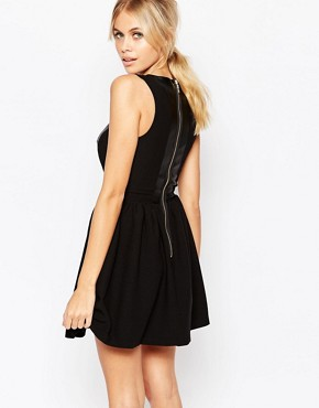 photo Amy Skater Dress with Leather Look Top by Hedonia, color Black - Image 2