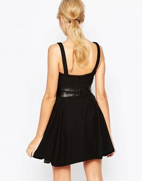photo Maria Skater Dress with Cut Out and PU Panel Detail by Hedonia, color Black - Image 2
