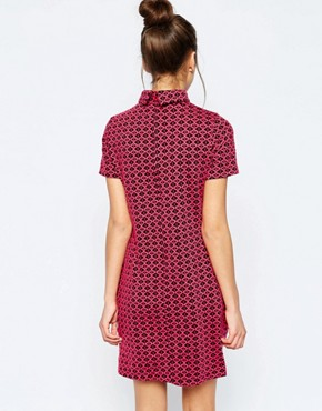 photo Ziggy High Neck Shift Dress in Geo Jacquard by Hedonia, color Pink - Image 2