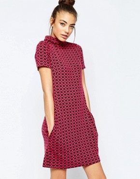 photo Ziggy High Neck Shift Dress in Geo Jacquard by Hedonia, color Pink - Image 1
