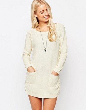 photo Jumper Dress with Bobble Detail by See U Soon, color Off White - Image 1
