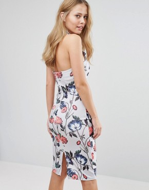 photo High Neck Midi Pencil Dress with Placement Floral Print by Hope and Ivy, color Pale Blue Multi - Image 2