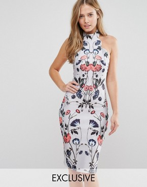 photo High Neck Midi Pencil Dress with Placement Floral Print by Hope and Ivy, color Pale Blue Multi - Image 1