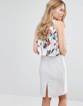photo 2 in 1 Midi Dress with Poppy Print by Hope and Ivy, color White Multi Poppy - Image 2