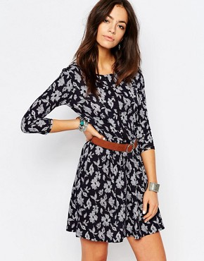 photo All Over Floral Print Swing Dress by Esprit, color Navy - Image 1