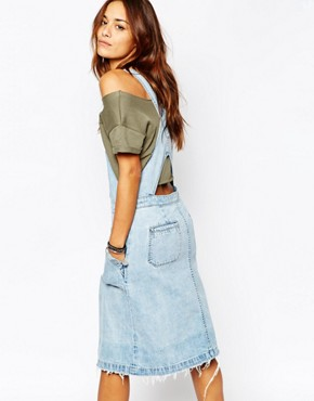photo Denim Dungaree Dress with Button Front by Blank NYC, color Blue - Image 2
