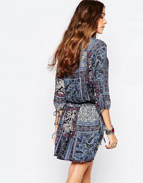 photo Paisley Print Tunic Dress by Esprit, color Navy - Image 2
