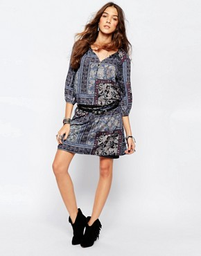 photo Paisley Print Tunic Dress by Esprit, color Navy - Image 1