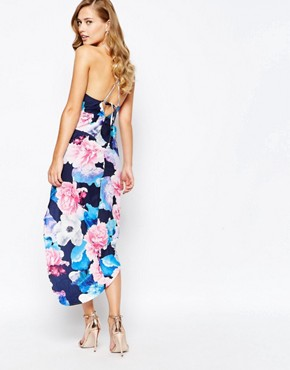 photo Wrap Front Pencil Dress in Dark Floral by Ginger Fizz, color Multi Floral - Image 2