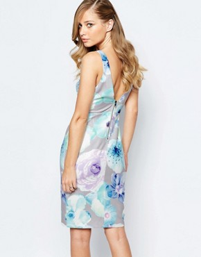 photo All Over Floral Pencil Dress with Strap Detail by Ginger Fizz, color Multi Floral - Image 2