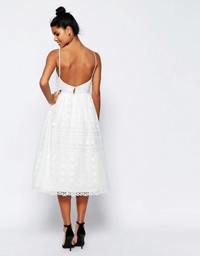 photo Occasion Midi Dress in Geo Lace by ASOS PREMIUM, color White - Image 2